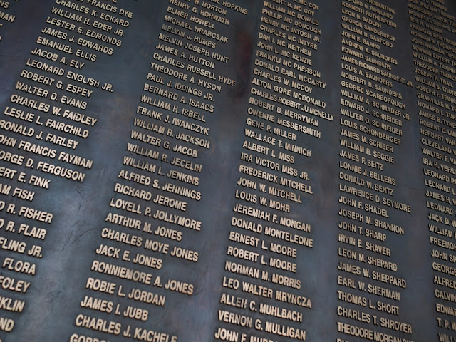 names of Americans who died in the Korean War on display at the War Memorial of Korea