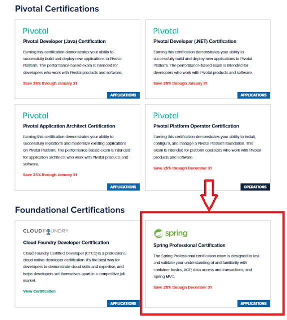 How to book Pivotal Certifications like Spring and Cloud foundry Java