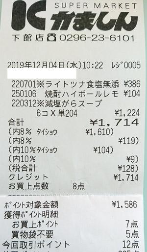 かましん 下館店 2019/12/4 のレシート
