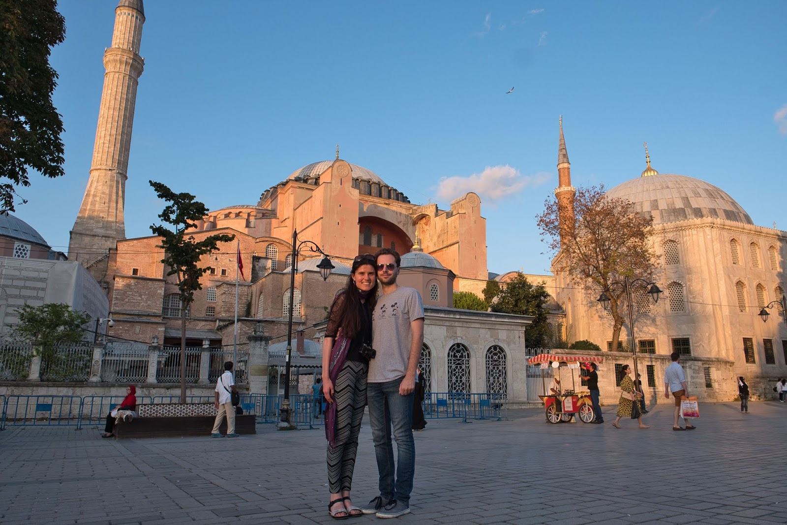 Kat Last and Stuart in front of the Hagia Sophia Museum in Istanbul, Turkey