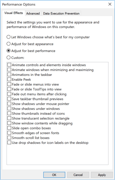 preformance options Optimize Windows for Gaming