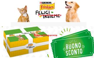 Logo Friskies ''Felici Insieme'' : raccolta punti gratuita e ricevi buoni sconto e omaggi