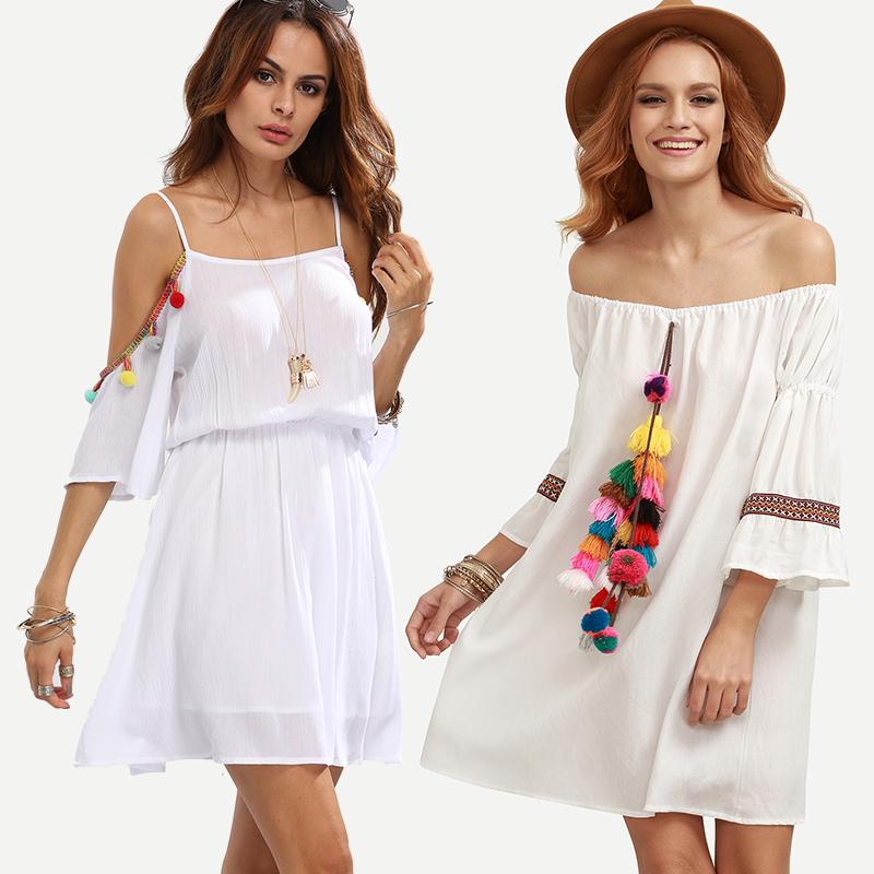 Vestidos brancos com pompom