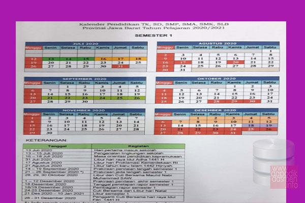 Anda Mencari Kalender Pendidikan Provinsi Jawa Barat Tahun Pelajaran 2020-2021? Kaldik Jabar Tapel 2020/2021 bisa didownload dengan mudah disini