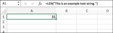 مثال على دالة LEN في Excel ، يعرض طول سلسلة نصية موضوعة في الصيغة مباشرة.
