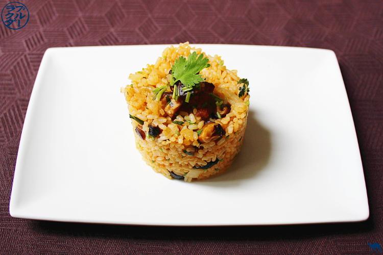 Le Chameau Bleu - Recette d'un riz sauté aux champignons Shiitakés et Oignons confits