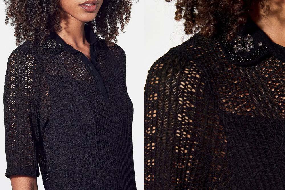 poll noir femme avec coll strass