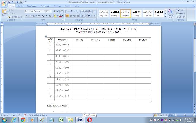 Contoh jadwal penggunaan laboratorium komputer sekolah