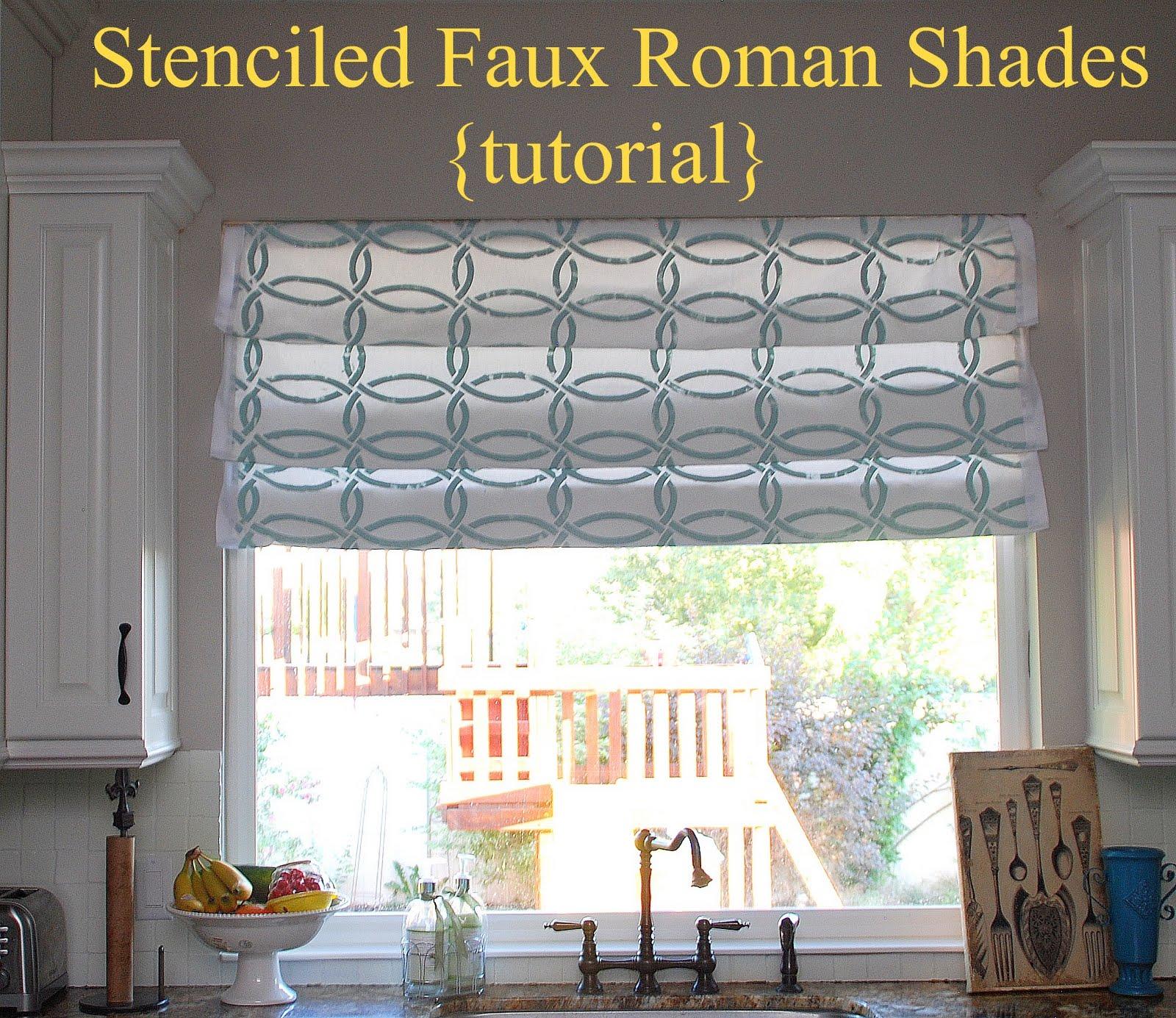 Stenciled Faux Roman Shades Tutorial Kitchen Sneak K