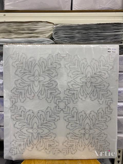 Hotfix stickers dmc rhinestone aplikasi tudung bawal fabrik pakaian corak bunga 4 bucu silver