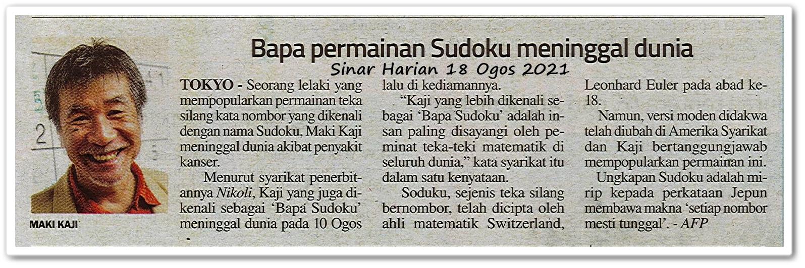 Bapa permainan Sudoku meninggal dunia - Keratan akhbar Sinar Harian 18 Ogos 2021