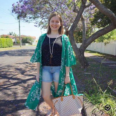 awayfromtheblue Instagram | Jeanswest Delilah Long Line Kimono in Green Floral jacaranda tree and denim shorts tee Louis Vuitton neverfull