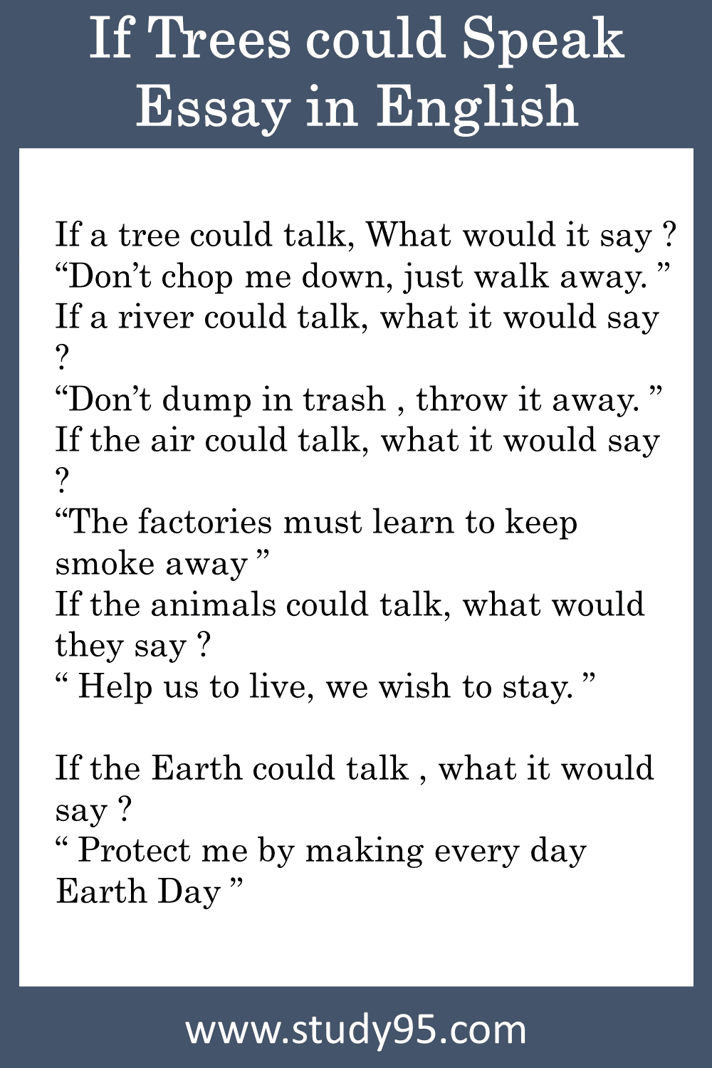 If Trees could Speak Summary