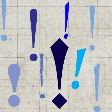 Assorted exclamation marks in varied typefaces and shades of blue, on a squared paper background.