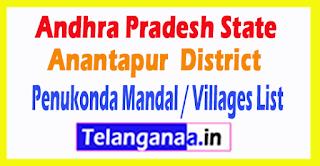 Penukonda Mandal Villages Codes Anantapur District Andhra Pradesh State India