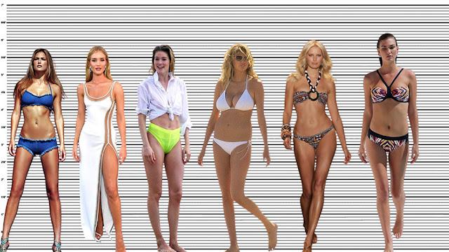 "Doutzen Kroes with Bar Refaeli (5'8.5""), Rosie Huntington-Whiteley (5'9""), Kate Upton (5'10""), Karolina Kurkova (5'11""), and Karlie Kloss (6'1.5"")"