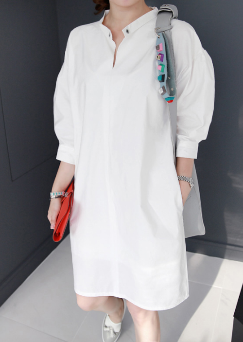 Mandarin Collar Balloon Sleeve Midi Dress