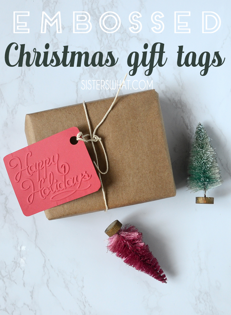 embossed christmas gift tags
