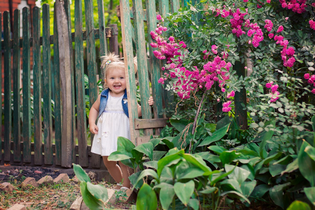 Toddler in the garden