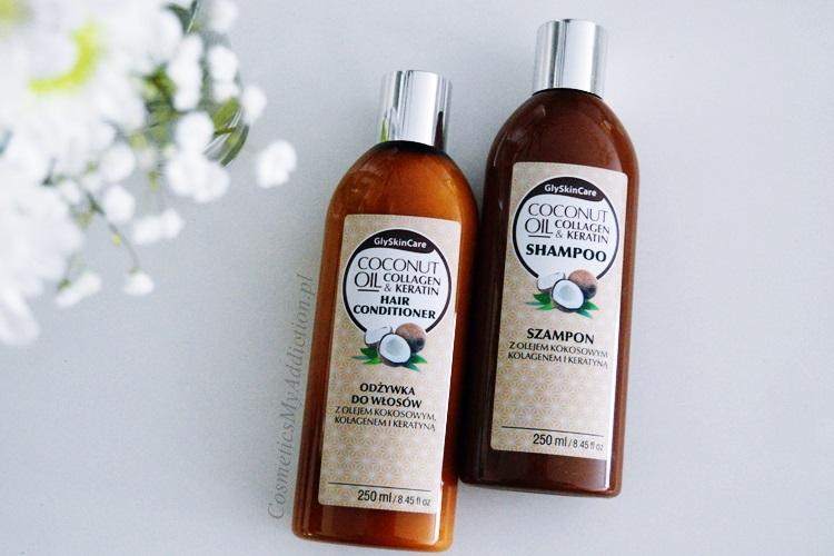 GLYSKINCARE | Szampon i odżywka do włosów z olejkiem kokosowym, kolagerem i keratyną