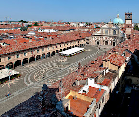 The beautiful Piazza Ducale in Vigevano, seen from the Castello Sforzesco