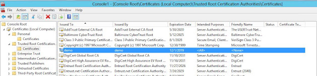 trusted root certificate store