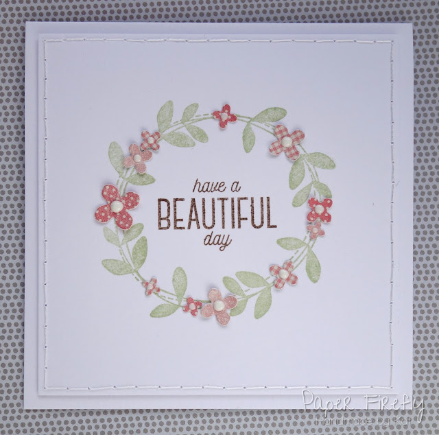 CAS floral wreath card (stamp set from My Favourite Things)