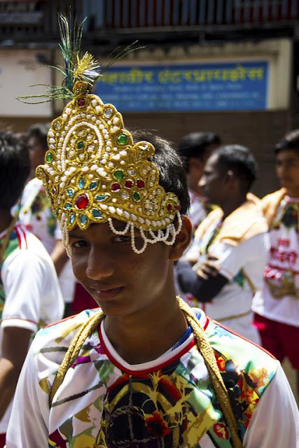 crown, lord krishna, birth celebrations, dahi handi, fancy dress, dadar, mumbai, india, street photo,