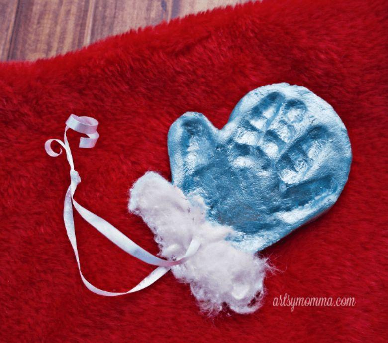 mitten salt dough handprint ornament