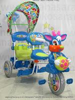 Sepeda Roda Tiga Royal RY8598C Baby Ball 2 Kursi Dobel Musik Kanopi