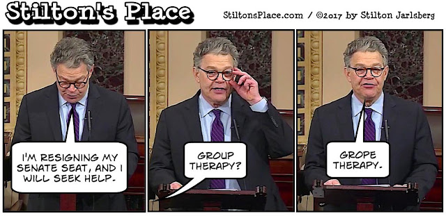stilton's place, stilton, political, humor, conservative, cartoons, jokes, hope n' change, al franken, resignation, sex, grope, buttock fetish, election fraud