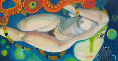 Oil on canvas, nude pale body of a woman floats in blue0green, an orange octopus tentacle above her, her face detached from her body and in profile looking away,  3 small hooded figures with scythes in the lower right-hand corner.