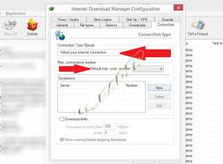 برنامج داولود منجر الاتصالات وتحديد اقصى سرعة تحميل internet download manager option connection