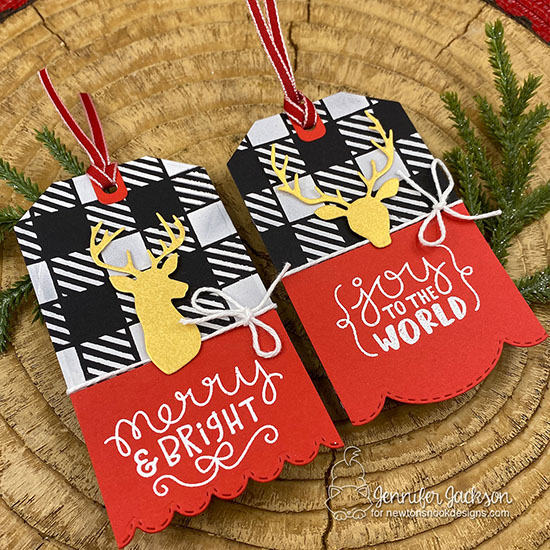 25 Days of Christmas Tags! Gold Deer Tags by Jennifer Jackson | Splendid Stags Die Set, Fancy Edges Tag Die Set, Gingham Stencil, and Ornamental Wishes Stamp Set by Newton's Nook Designs #newtonsnook #handmadetags