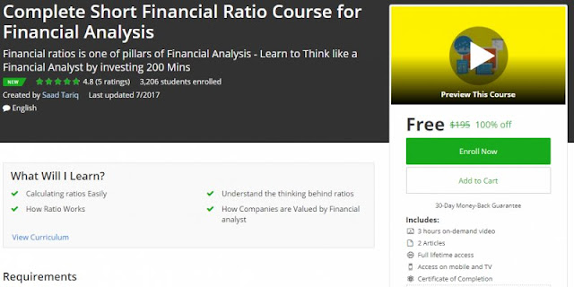 [100% Off] Complete Short Financial Ratio Course for Financial Analysis|Worth 195$