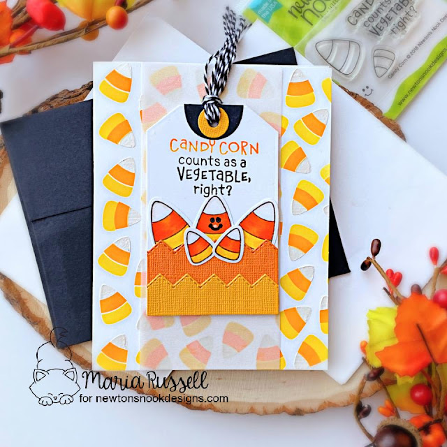 Candy Corn Card by Maria Russell | Candy Corn Stamp Set, Candy Corn Stencil Set and Fancy Edges Tag Die Set by Newton's Nook Designs #newtonsnook #handmade