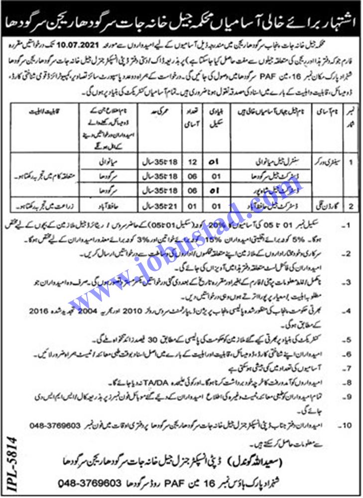 New Jobs in Jail Department Punjab Sargodha Region 2021 - Jail Khana Jat Jobs 2021 Sargodha