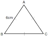 equilateral triangle of length 6 cm