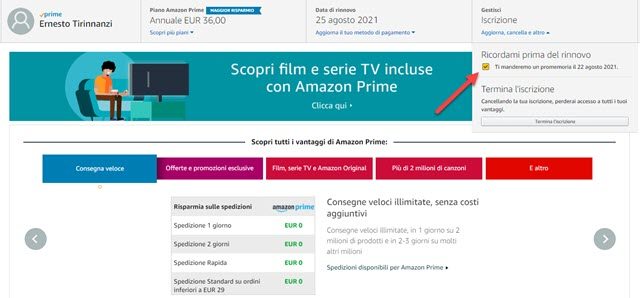 promemoria rinnovo di prime video