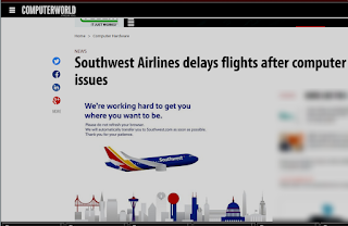 Screenshot of Computerworld story on Southwest Airlines Outage in July 2016