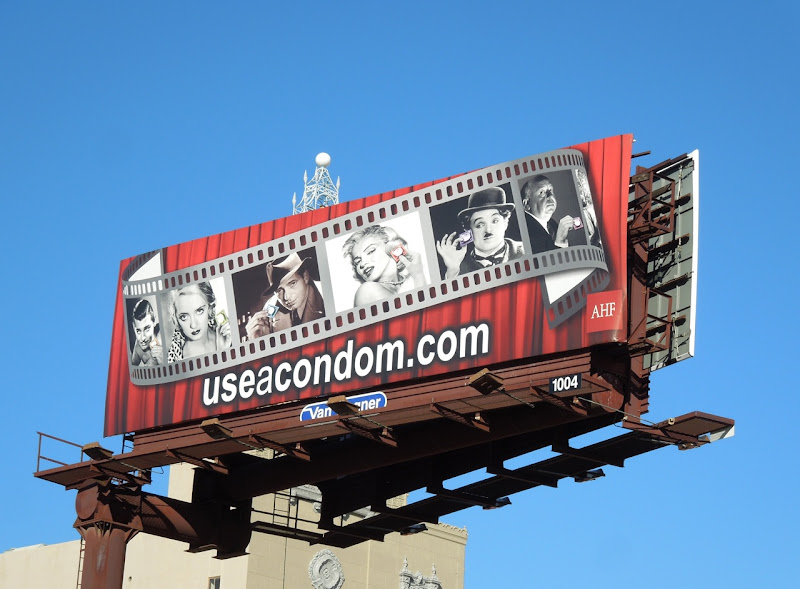 Hollywood screen legends use a condom billboard