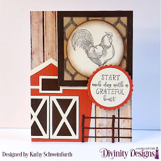 Rise & Shine, Custom Dies: Barn, Farm Fence, Squares, Circles, Scalloped Circles,  Paper Collection: Weathered Wood