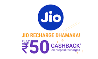 Flat Rs.50 Cashback Jio Recharge Offers on PhonePe, Paytm, MobiKwik