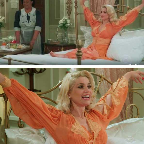 Sandra (Flavia Alessandra) Eta mundo bom figurino, camisola laranja