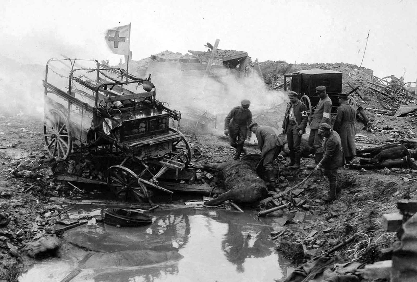 At Kemmel, West Flanders, Belgium. The effect of enemy artillery fire upon German ambulances, in May of 1918.