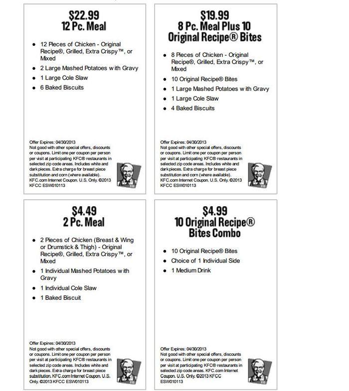 Printable Coupons 2018 KFC Printable Coupons February 2013