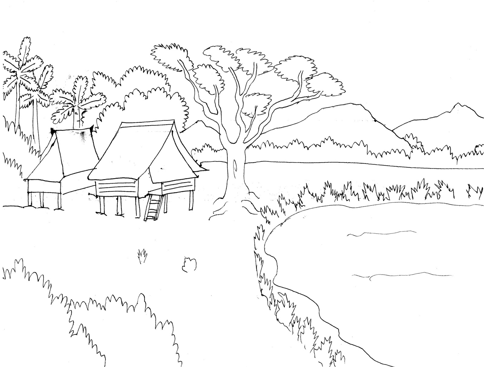 Gambar mewarnai pemandangan desa dengan objek langit pohon gunung rumput dan air Colouring Village