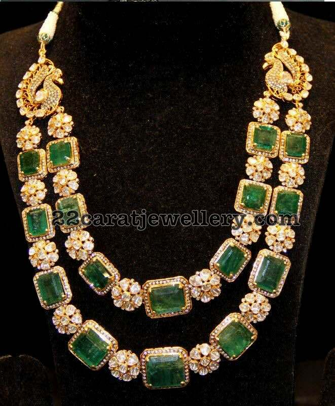 Two Layer Floral Diamond Emerald Set