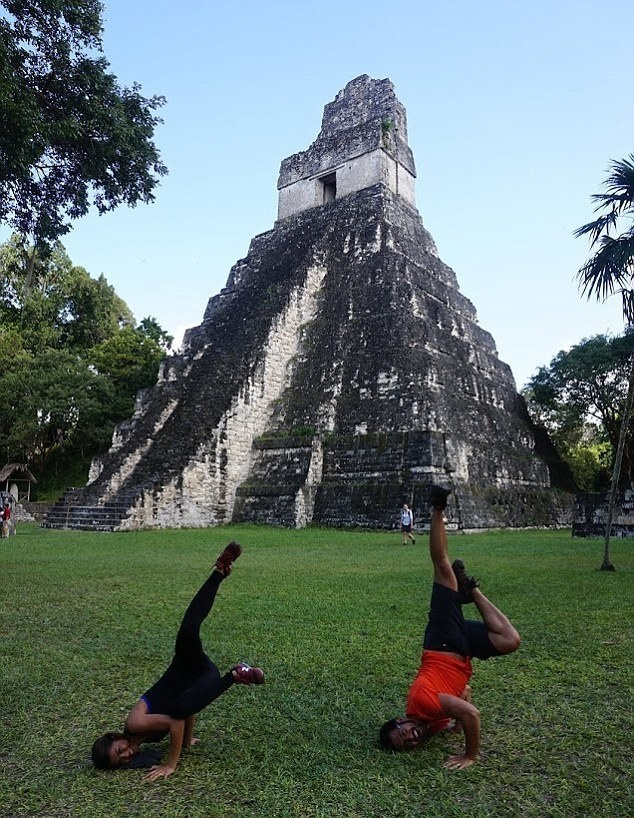 Doing a little yoga overlooking a Mayan pyramid. - This Couple Had A 500 Day Worldwide Honeymoon… How They Did It Is So Simple.