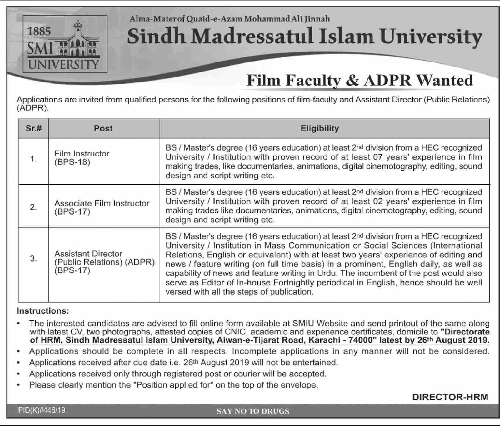Advertisement for Sindh Madressatul Islam University Jobs